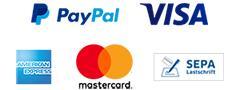 Zahlung per Kreditkarte und Lastschrift wird über PayPal ab-gewickelt
